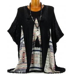 Poncho pull coton pompons ethnique bohème noir LUCETTE