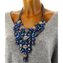 Gros collier plastron couture cristal bleu IMPERATRICE