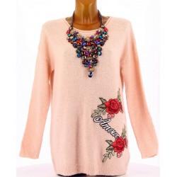 Pull laine femme long hiver doux ample brodé rose AMOUR