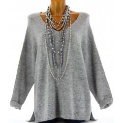 Pull laine femme long hiver doux asymétrique gris CLOTILDE