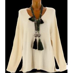 Pull laine femme long hiver doux asymétrique beige CLOTILDE