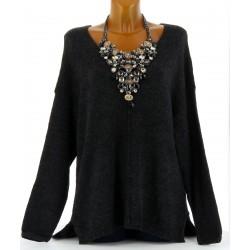 Pull laine femme long hiver doux asymétrique noir chiné CLOTILDE
