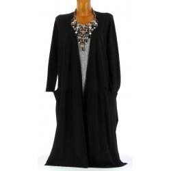 Gilet cardigan long maxi tricot bohème noir EGLANTINE