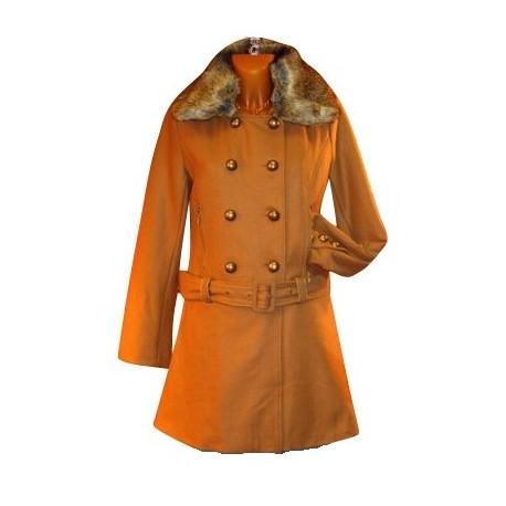 manteau caban laine fourrure R.KARL T.36 38 40 42 44 46