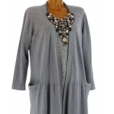 Gilet cardigan long maxi tricot bohème gris EGLANTINE