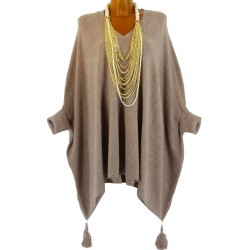 Poncho pull long hiver pompons grande taille taupe ALICIA