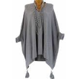 Poncho pull long hiver pompons grande taille gris ALICIA