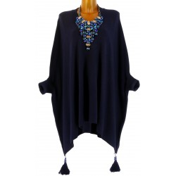 Poncho pull long hiver pompons grande taille bleu ALICIA