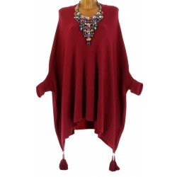 Poncho pull long hiver pompons grande taille bordeaux ALICIA