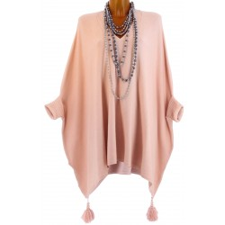 Poncho pull long hiver pompons grande taille rose ALICIA
