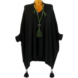 Poncho pull long hiver pompons grande taille noir ALICIA