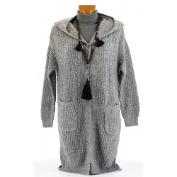 Gilet cardigan long capuche laine hiver gris AMEDEE
