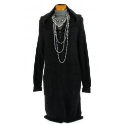 Gilet cardigan long capuche laine hiver noir AMEDEE