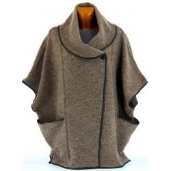 Cape manteau laine bouillie hiver grande taille taupe GASTON