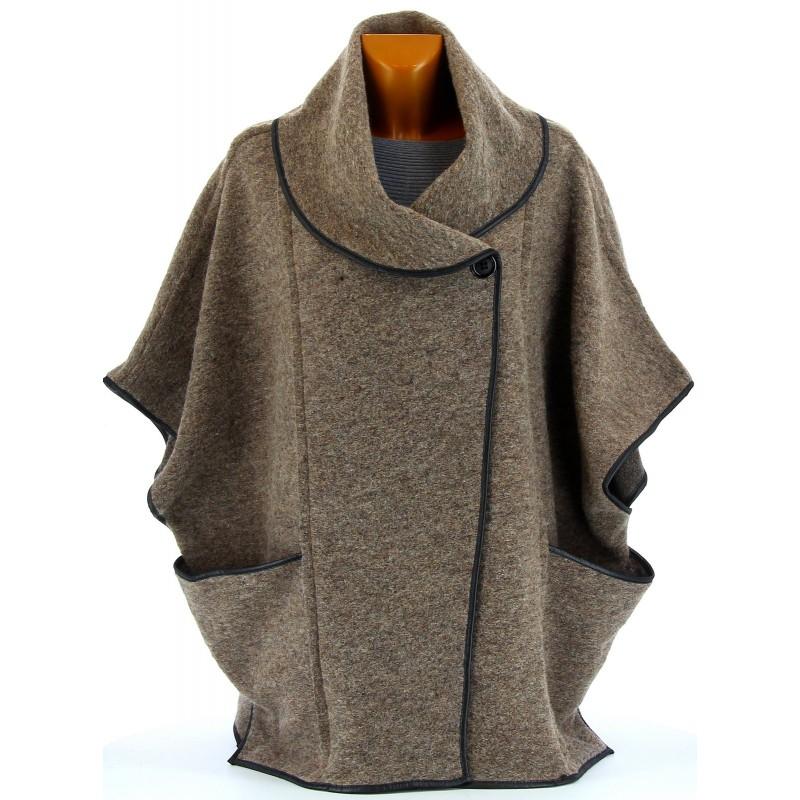 cape manteau laine bouillie hiver grande taille taupe gaston. Black Bedroom Furniture Sets. Home Design Ideas