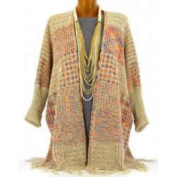Gilet long poncho franges ethnique laine beige APOLLON