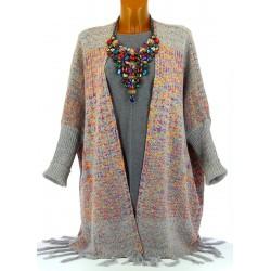 Gilet long poncho ethnique laine hiver gris APOLLON