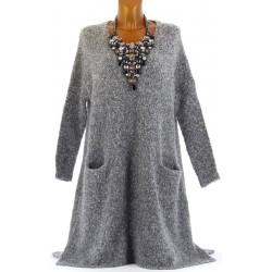 Robe pull longue cachemire laine hiver gris HADES