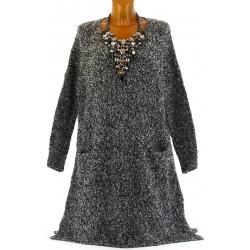 Robe pull longue cachemire laine hiver noir HADES