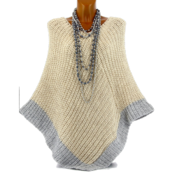 Poncho pull cape laine grosse maille hiver beige FELIX