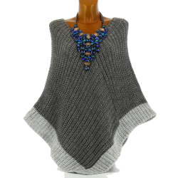 Poncho pull cape laine grosse maille hiver gris FELIX
