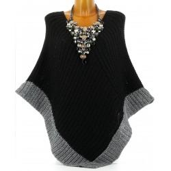 Poncho pull cape laine grosse maille hiver noir FELIX
