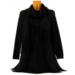 Pull tunique long + écharpe hiver femme noir MARIANNE