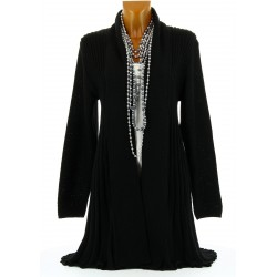 Gilet cardigan long plissé tricot noir MIRAMAR