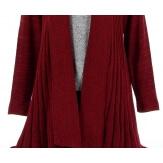 Gilet cardigan long plissé tricot bordeaux MIRAMAR