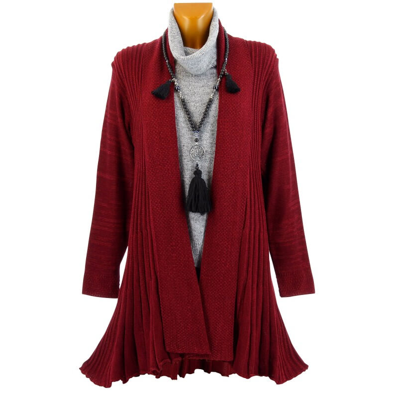 gilet cardigan long pliss tricot bordeaux miramar. Black Bedroom Furniture Sets. Home Design Ideas