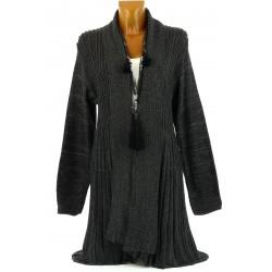 Gilet cardigan long plissé tricot gris MIRAMAR