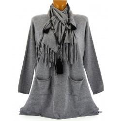 Pull tunique long + écharpe hiver femme gris MARIANNE