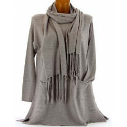 Pull tunique long + écharpe hiver femme taupe MARIANNE