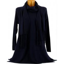Pull tunique long + écharpe hiver femme bleu marine MARIANNE