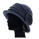 Bonnet chapeau cloche 100% laine bouillie hiver navy CATHERINE