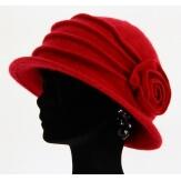 Bonnet chapeau cloche 100% laine bouillie hiver red CATHERINE