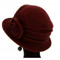 Bonnet chapeau cloche laine CATHERINE Bordeaux Chapeau cloche
