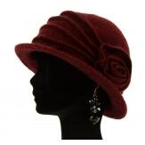 Bonnet chapeau cloche 100% laine bouillie hiver bordeaux CATHERINE