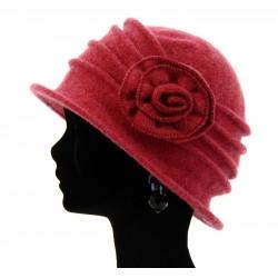 Bonnet chapeau cloche 100% laine bouillie hiver framboise CATHERINE
