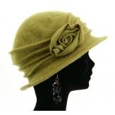 Bonnet chapeau cloche 100% laine bouillie hiver pistache CATHERINE