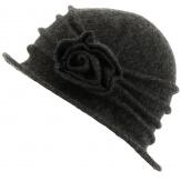 Bonnet chapeau cloche 100% laine bouillie hiver gris foncé CATHERINE
