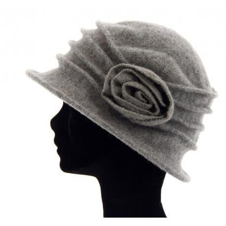 Bonnet chapeau cloche 100% laine bouillie hiver gris clair CATHERINE
