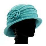 Bonnet chapeau cloche 100% laine bouillie hiver turqoise CATHERINE