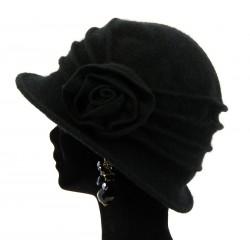 Bonnet chapeau cloche laine CATHERINE Noir Chapeau cloche