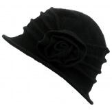 Bonnet chapeau cloche 100% laine bouillie hiver noir CATHERINE