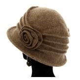 Bonnet chapeau cloche 100% laine bouillie hiver taupe CATHERINE