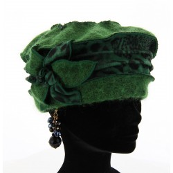 Bonnet béret laine bouillie hiver léopard vert  ARNOLD