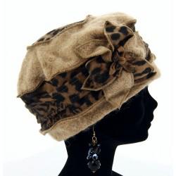 Bonnet béret laine bouillie hiver léopard taupe ARNOLD