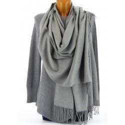 écharpe châle étole cachemire laine hiver mixte gris BERNARD