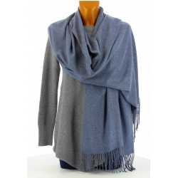 écharpe châle étole cachemire laine hiver mixte bleu BERNARD